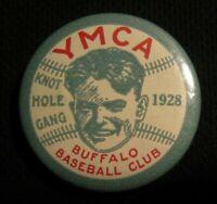 "1928 1.75"" YMCA BUFFALO BASEBALL CLUB KNOT HOLE GANG BASEBALL PIN - Vintage NY"