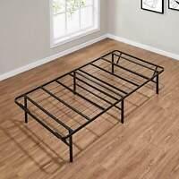 Platform Twin Size Bed Frame, 14 Inch High Metal Mattress Stand, Foldable Black