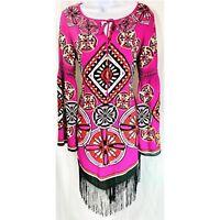 Chelsea and Violet Fringe Shift Dress Size Small Anthropologie Pink Black Bell