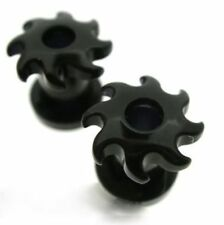 PAIR BLACK 6G 4MM SWIRL TUNNELS PLUGS DOUBLE FLARED THREADED