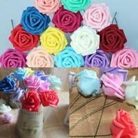 25/50 Heads Foam Rose Flower Bridal Wedding Bouquet Home Office Party Decor
