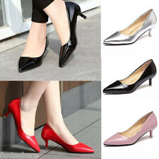 New Womens Low Mid Kitten Heels Slip On Court Shoes Ladies Pumps OL Office Size