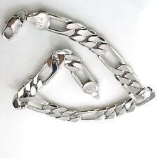 Filled Silver Figaro Chain Bracelet 230*9mm Men's Women Jewelry 14k White Gold