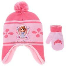 Disney Princess Sofia the First Girl Trapper Beanie Winter Ski Hat Mittens Set