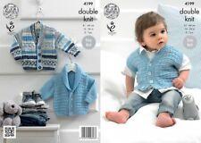 King Cole DK Knitting Pattern 4199:Easy knit jackets & Waistcoat