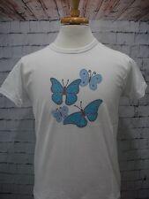 New~Women's White Jerzees T-Shirt with Blue Butterflies ~ Size Medium