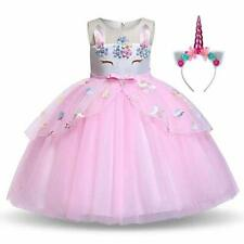 Pretty Princess Girls Unicorn Dress Party Dress up Outfit Unicorn Halloween