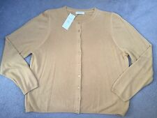 M&S CREW NECK CARDIGAN IN OCHRE WITH SMALL MATCHING BUTTONS- SIZE 22 - BNWT
