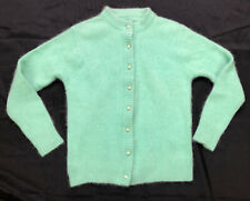 1950's GREEN SWEATER Vintage Lambswool Soft Wool 50's Pin Up Pearl Button