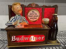 Vintage Budweiser Beer Bar Sign Display Bartender Extremely Rare Light Up Sign