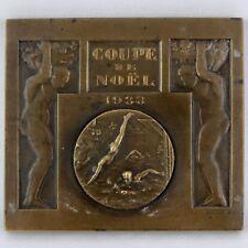 """Ancien, MEDAILLE Bronze """"Coupe NATATION Noël 1933""""  E.FRAISSE Art Déco/swimming"""