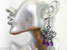 Pretty Chandelier Gypsy Dangle Drop Earrings with Diamante and Purple Beads