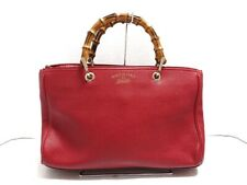 Auth GUCCI Bamboo Shopper Leather Tote 323660 Red Leather Tote Bag