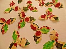 50 triple vintage pattern/ HOLLY  LEAVES/CRAFTS/DECORATION/WEDDING//CHRISTMAS