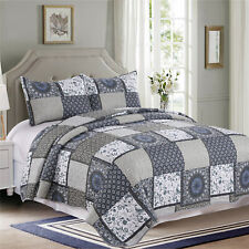3 Pieces Microfiber Reversible Queen/King Quilt Set Blue Beige Antique Patchwork