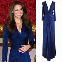 BNWT ISSA Navy Midnight Blue Silk Jersey Maxi Long Gown Dress UK10 US6 RRP £525