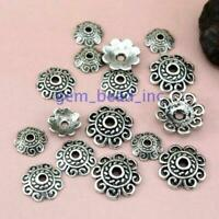 50pcs Tibetan Silver Flower Bead DIY Caps Jewelry Making Findings 8/10/12mm