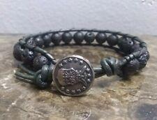 with Lava Rock Bracelet Vintage Airforce Od Green Leather