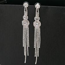 Beauty Crystal Earring Fashion Cucurbit Rhinestone Long Chain Earrings 1 Pair