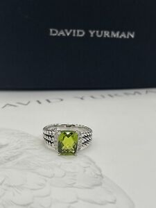 David Yurman Sterling Silver Petite Peridot & Diamond Wheaton Ring Size 7