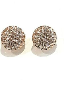 Swarovski - Clip on rose gold round earrings made with Crystals