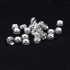 100pcs Silver Rondelle Spacer Beads Rhinestone Bead Jewelry Making Craft 6mm