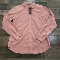 Banana Republic Soft Wash Slim Fit Mens Medium Button Down Red Pink Dress Shirt