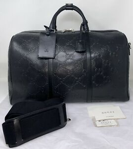Gucci GG Embossed Duffle Bag Black Leather Travel Carry-On AUTHENTIC ❤️