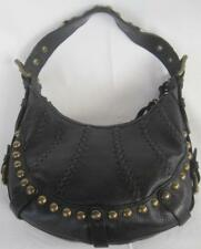 8ee7c4231c67 Isabella Fiore Black Hobo Shoulder Purse Brass Studs Tassels Whipstitch  Leather