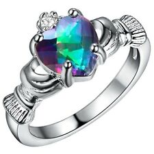 Heart Rainbow Mystic Topaz Gem Claddagh Ring 925 Silver Fashion Jewelry Size 6