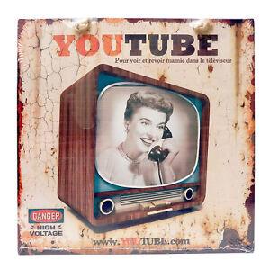 """Plaque Humoristique Youtube """"You Tube"""" en métal Télé Télévision Rétro Class Déco"""