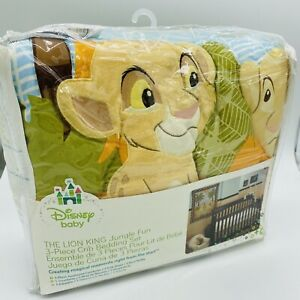 DISNEY BABY LION KING JUNGLE FUN SIMBA BEDDING CRIB | 3 piece set New In Package