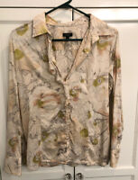 TALBOTS FLORAL BUTTON DOWN SHIRT SZ M 8 Spring Beige Spring Blouse