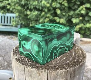 Malachite Trinket Box/pill Box 6 X 4 X 3.5cm Real Malachite Gemstone