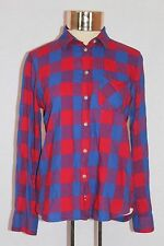 Women's American Eagle Red Button Down Western Plaid Long Sleeved Shirt (S)