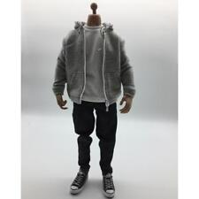 1/6 Action Figure Clothes Gray Hoodie T-shirt Jeans Shoes Toy Set Accessory