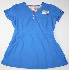 Koi S Small Justine Scrub Top #175 Blue SLCC Patch Student Nurse Uniform