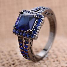 Sapphire Ring Men Wedding Rings Sz 9 Fashion 18K Black Filled Princess Cut Blue