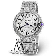 Diamond Cartier Ballon Bleu W6920046 Automatic MidSize SS Watch w/ Box & Papers
