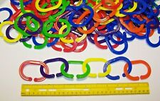 "12 Large Durable Plastic Chain Links 2-3/4'' x 2'' x 1/8"" Parrot Bird Toy Parts"