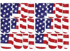 24 WATER SLIDE NAIL ART DECAL * AMERICAN FLAG * Patriotic FULL NAIL COVER