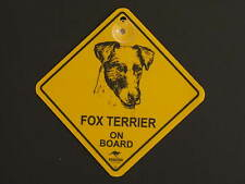 Fox Terrier On Board Dog Breed Yellow Car Swing Sign Gift