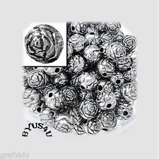 ACRYLIC SPACER BEADS ROUND ROSEBUD 6mm METALLIC ANTIQUE SILVER 100pc