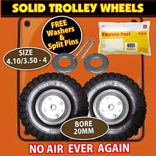 TROLLEY WHEELS x 2 WITH 20MM BORE SIZE: 4.10/3.5-4 NEW FAST SHIP EXPRESS