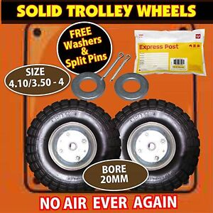 TROLLEY WHEELS x 2 WITH 20MM BORE SIZE: 4.10/3.5-4 NEW FAST SHIP