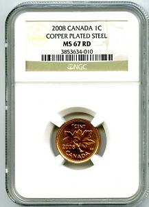 2008 CANADA CENT NGC MS67 RD COPPER PLATED MAGNETIC STEEL HIGH GRADE RARE !!