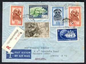 Belgian Congo 1950 Colorful Registered Airmail Cover - Costermansville to UK