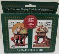 1996 Saturday Evening Post Santa Claus Playing Cards 2 Decks Tin Globe
