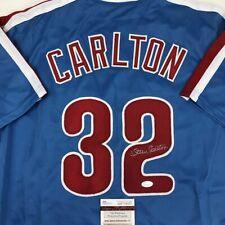Autographed/Signed STEVE CARLTON Philadelphia Retro Blue Baseball Jersey JSA COA
