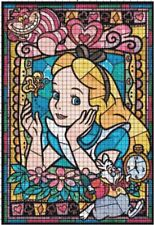 Alice in Wonderland Stained Glass Collage DIGITAL Counted Cross-Stitch Pattern